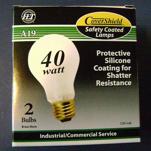 2 pk 40W A19 130V Silicone Coated Shatter Resistant Incandescent Light Bulbs