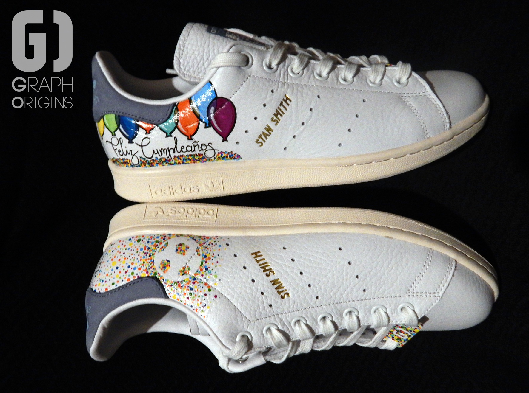 Custom baskets adidas Stan Smith Feliz Cumple graph origins 3