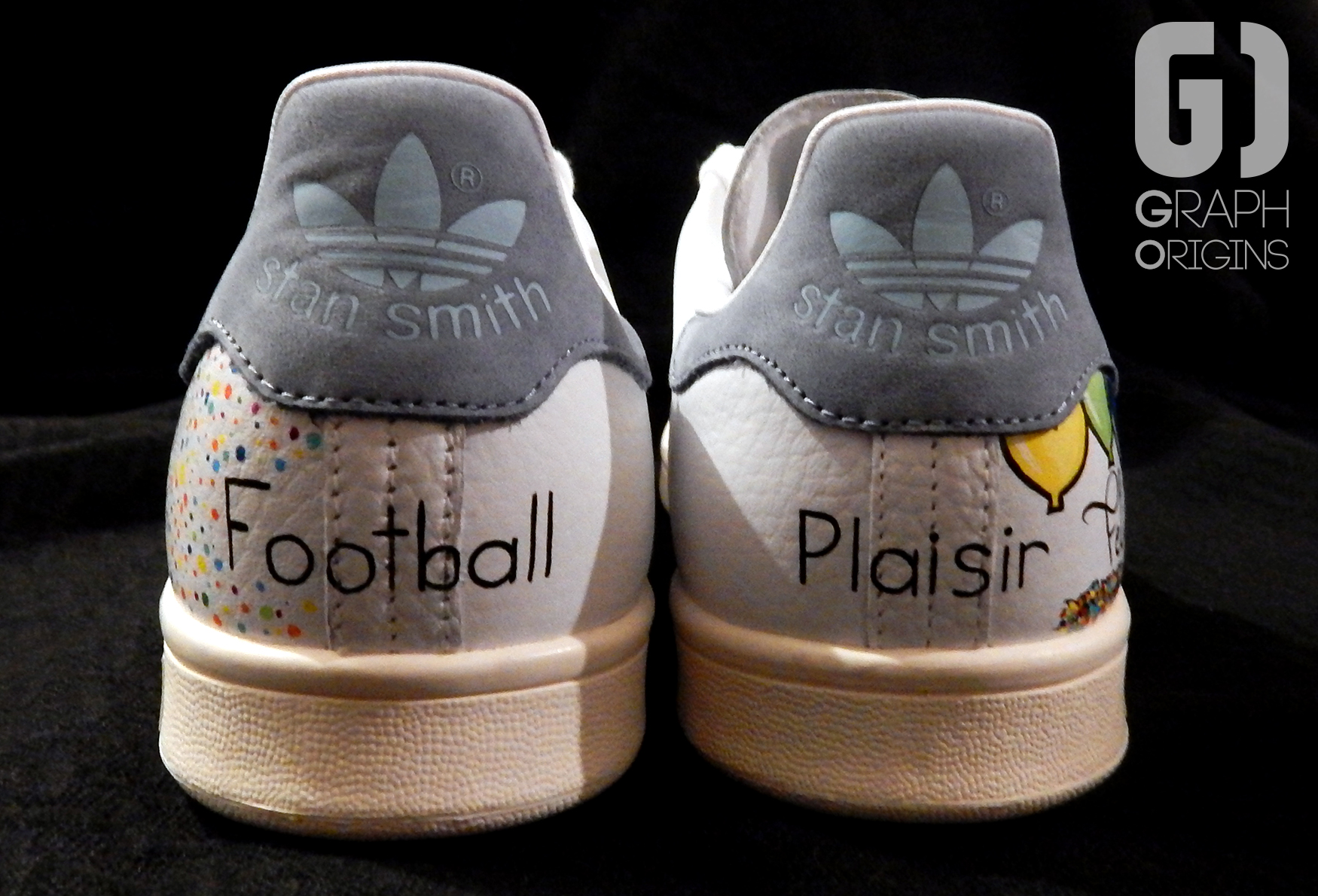Custom baskets adidas Stan Smith Feliz Cumple graph origins 5