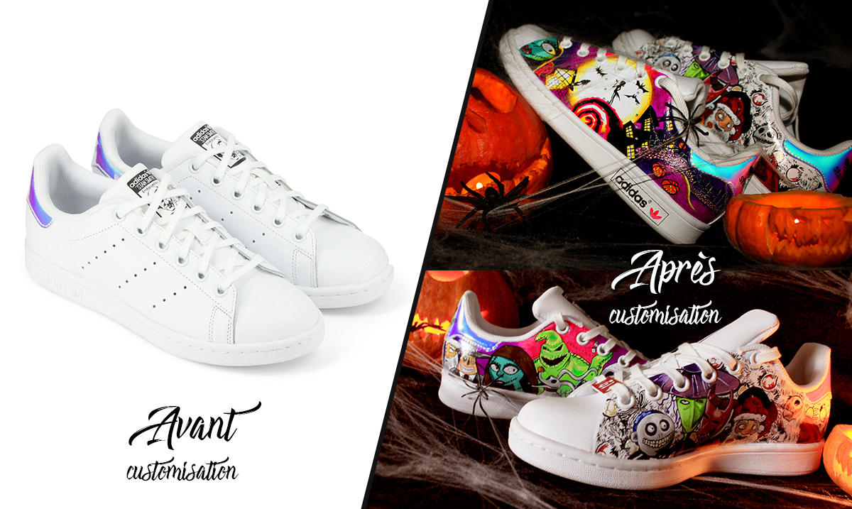 Custom_baskets_adidas_stan_smith_l'étrange_noel_de_mr_jack_graph_origins_avant-après
