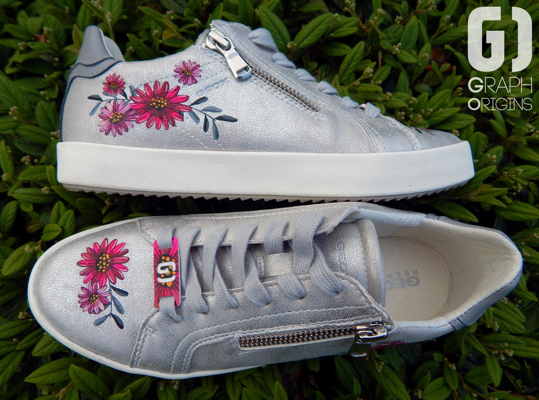 Customisation Chaussures Geox fleurs 5