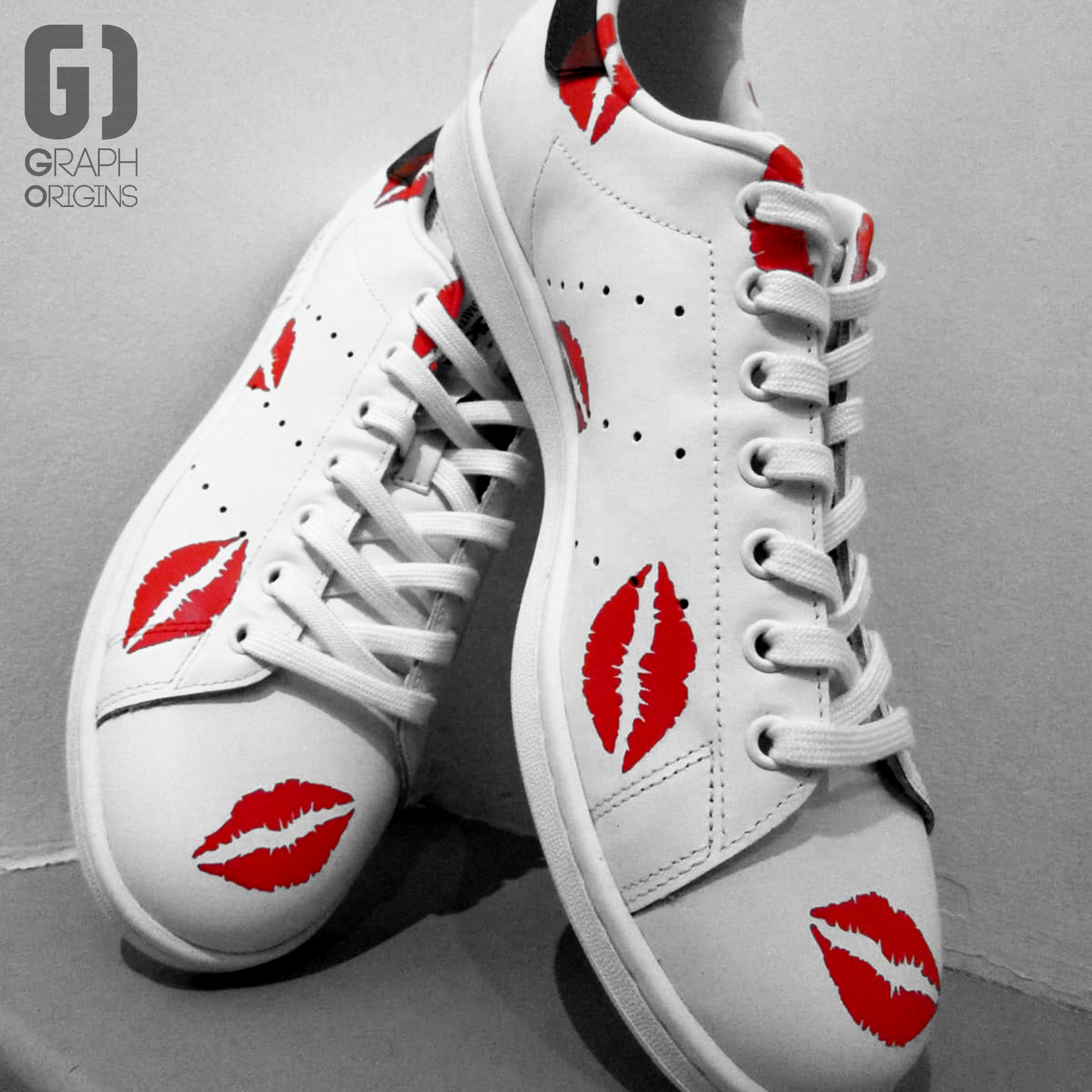 Custom Adidas red lips
