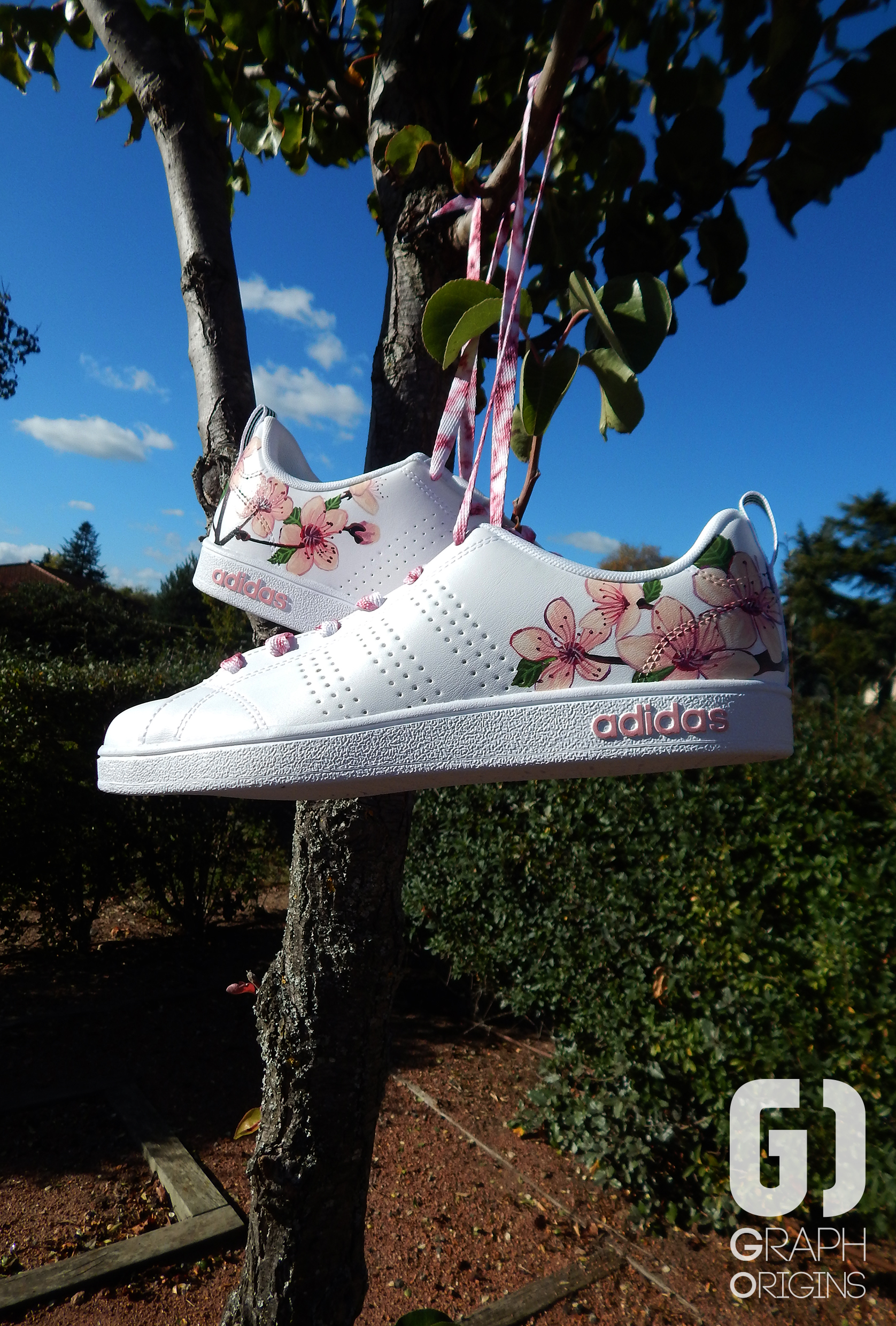 Custom baskets adidas neo cherry flower graph origins