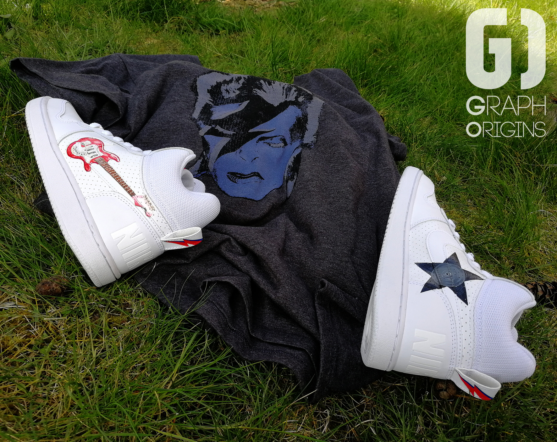 Custom David Bowie sur Nike Court Borough mid Graph Origins 2