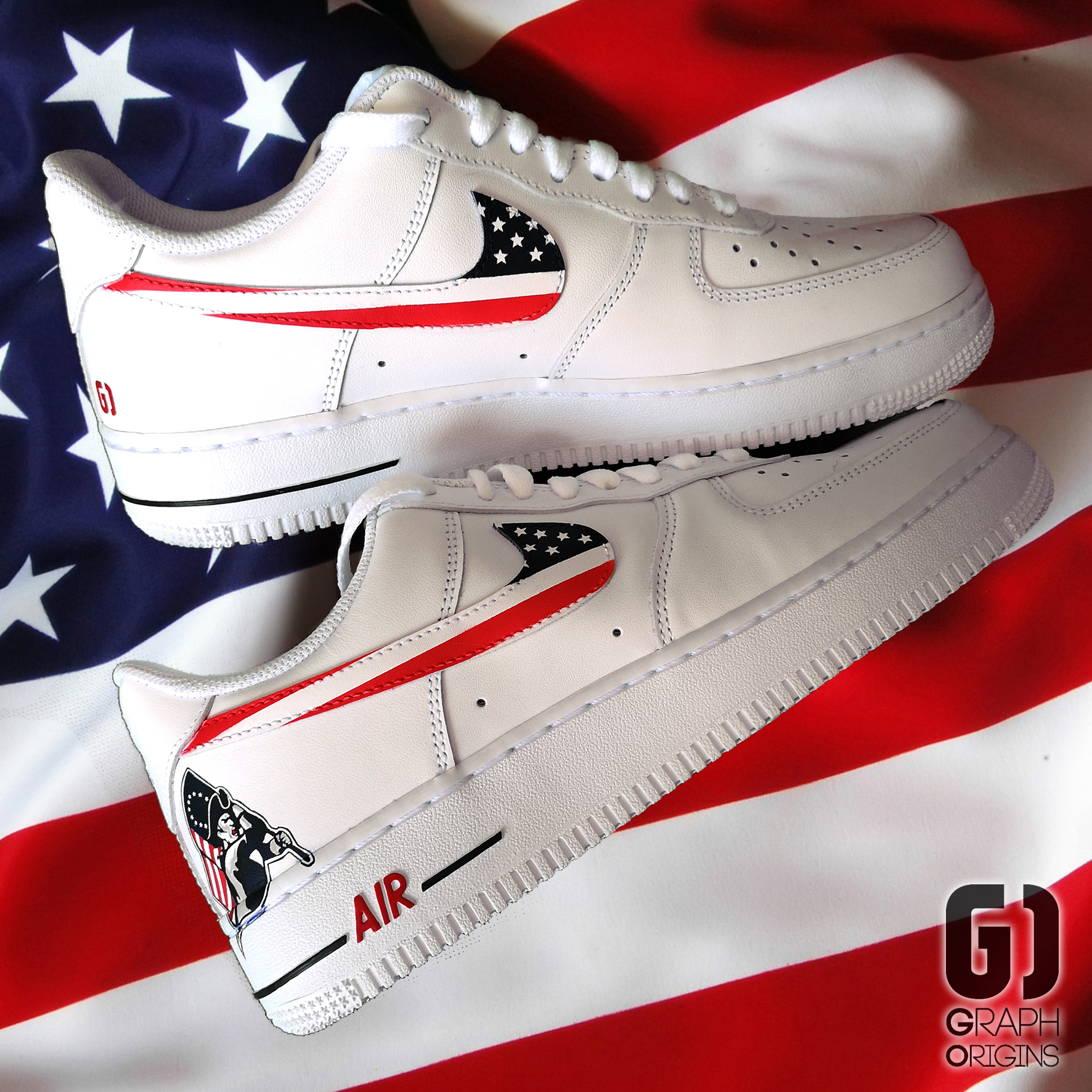 Custom Patriots Air Force 1 Nike Graph O