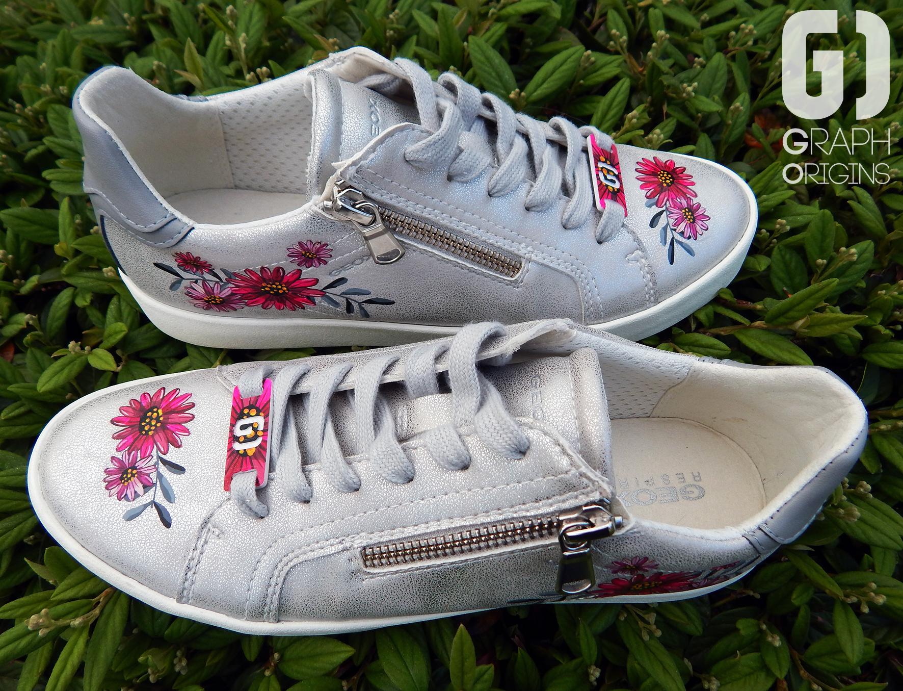 Customisation Chaussures Geox fleurs 2