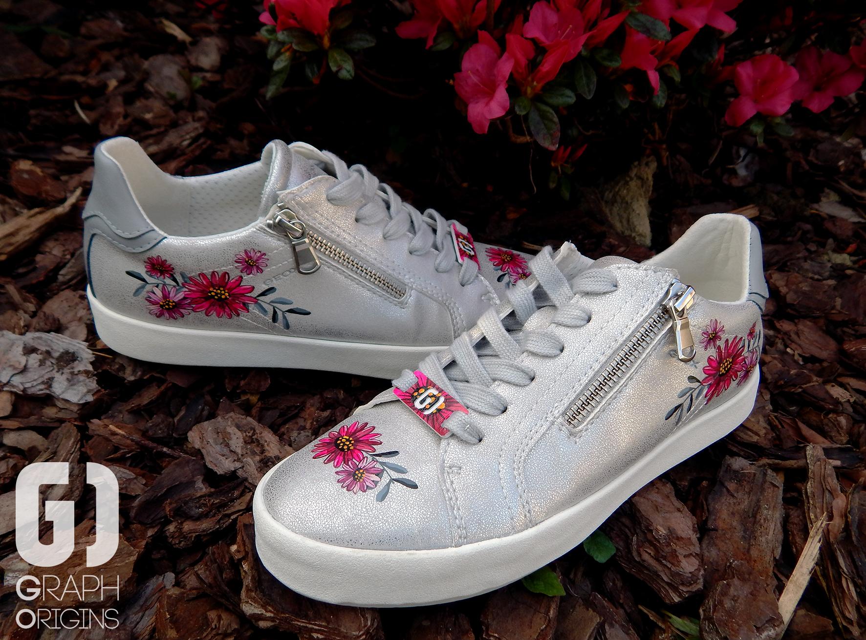 Customisation Chaussures Geox fleurs 3