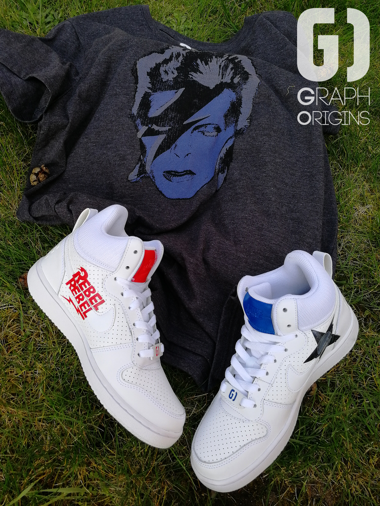 Custom David Bowie sur Nike Court Borough mid Graph Origins 1