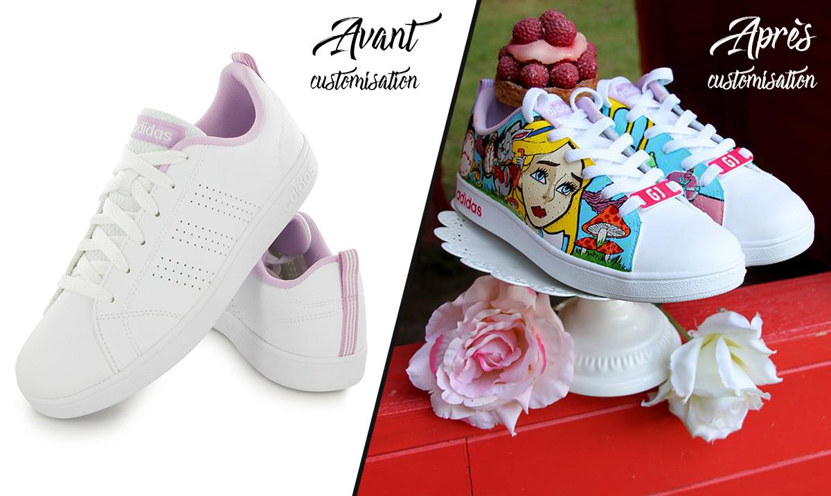 Custom_chaussures_adidas_neo_alice_au_pays_des_merveillse_graph_origins_avant-après