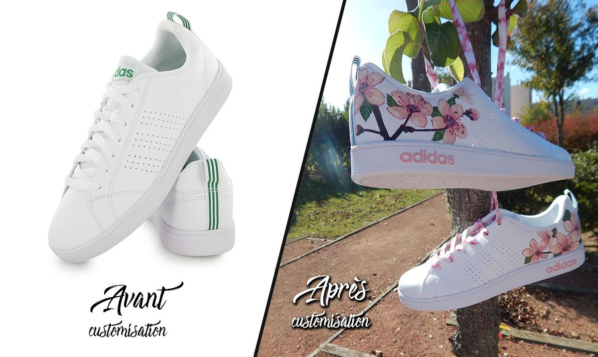 Custom_baskets_adidas_neo_cherry_flower_graph_origins_avant-après