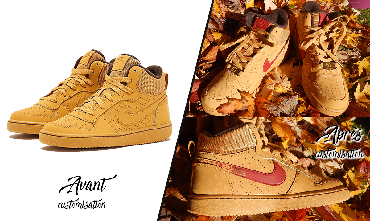 Custom_baskets_montantes_Nike_court_borough_mid_autumn_leaves_graph_origins_avant-après
