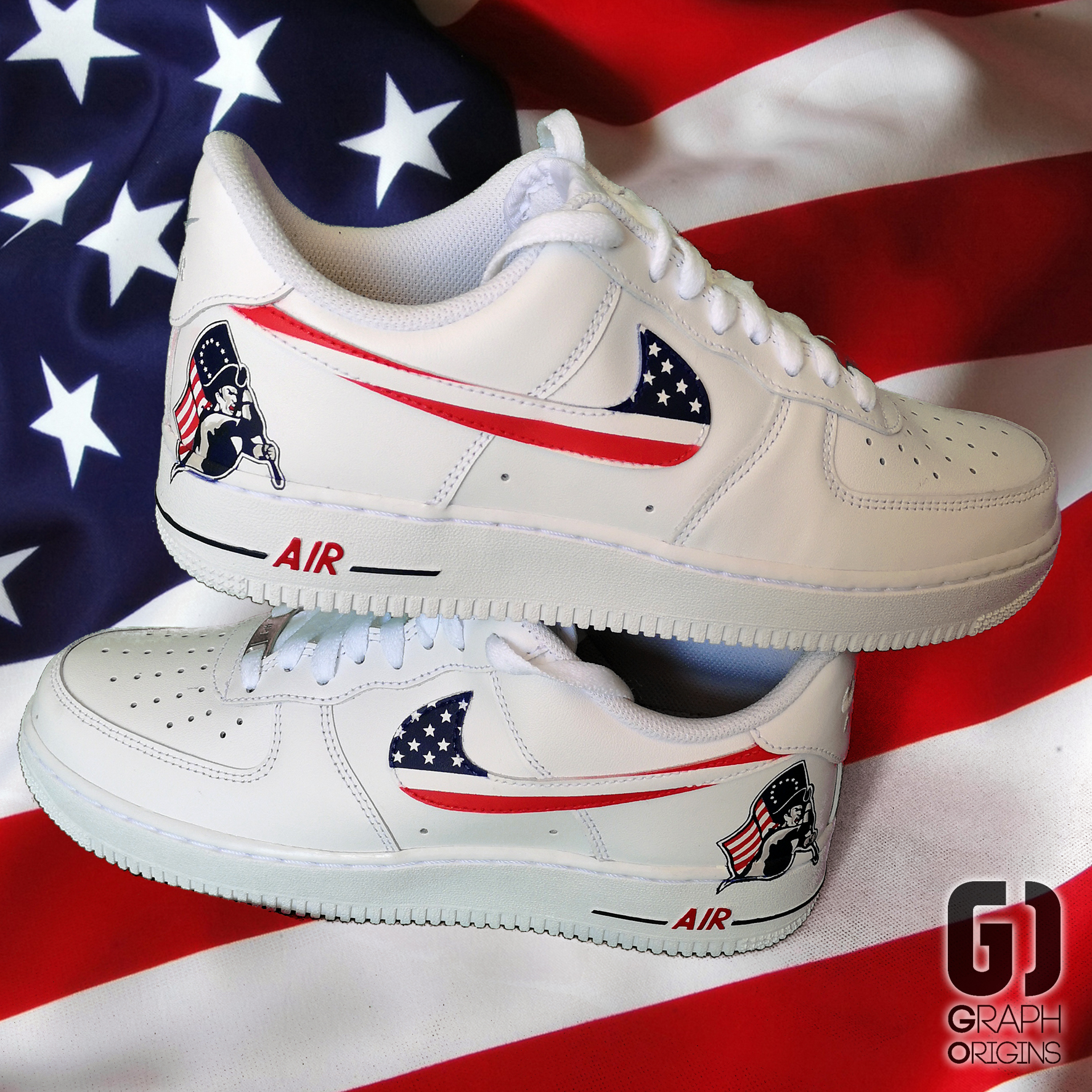 Custom Patriots Air Force 1 Nike Graph O