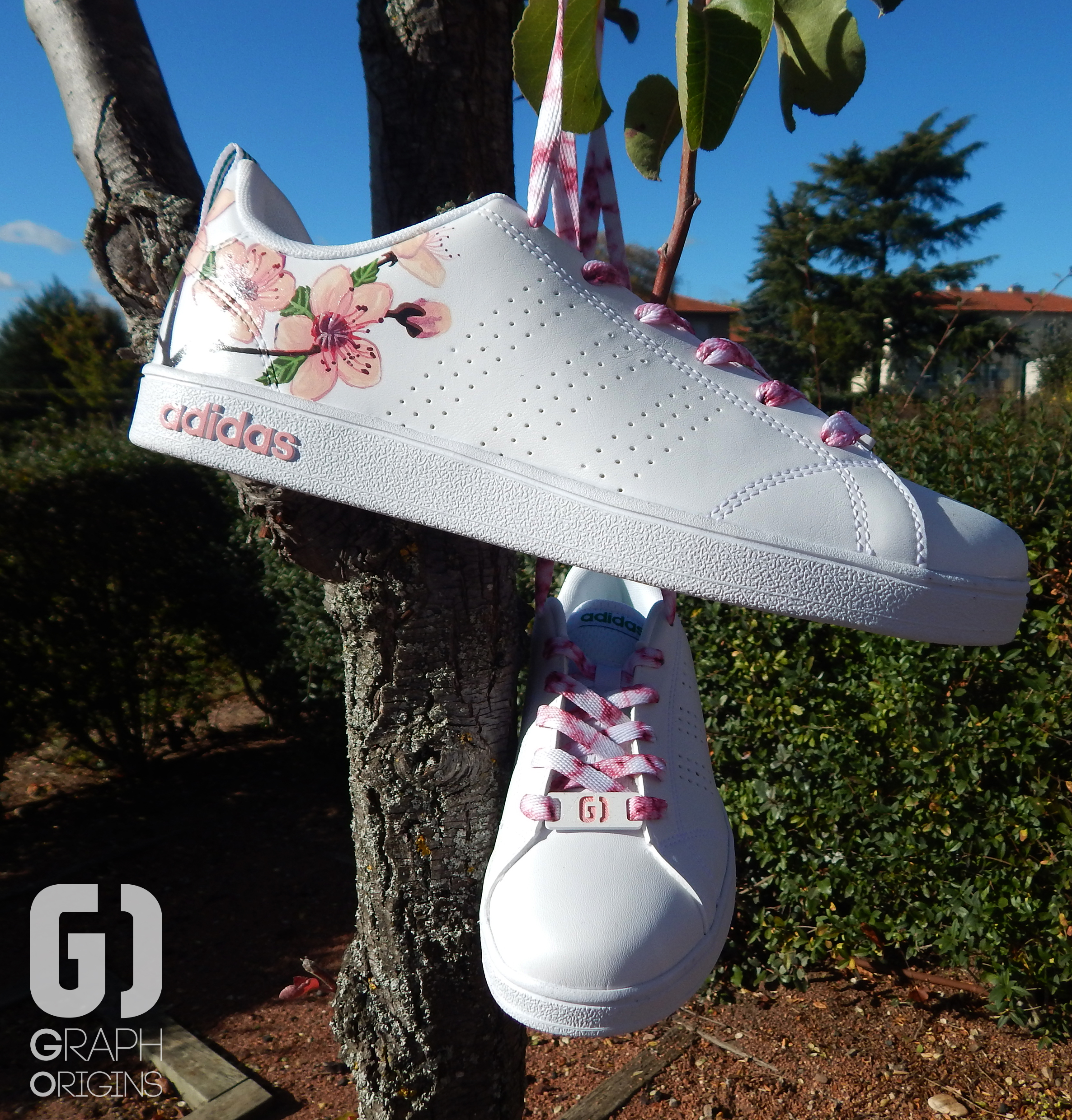 Custom baskets adidas neo cherry flower graph origins 4