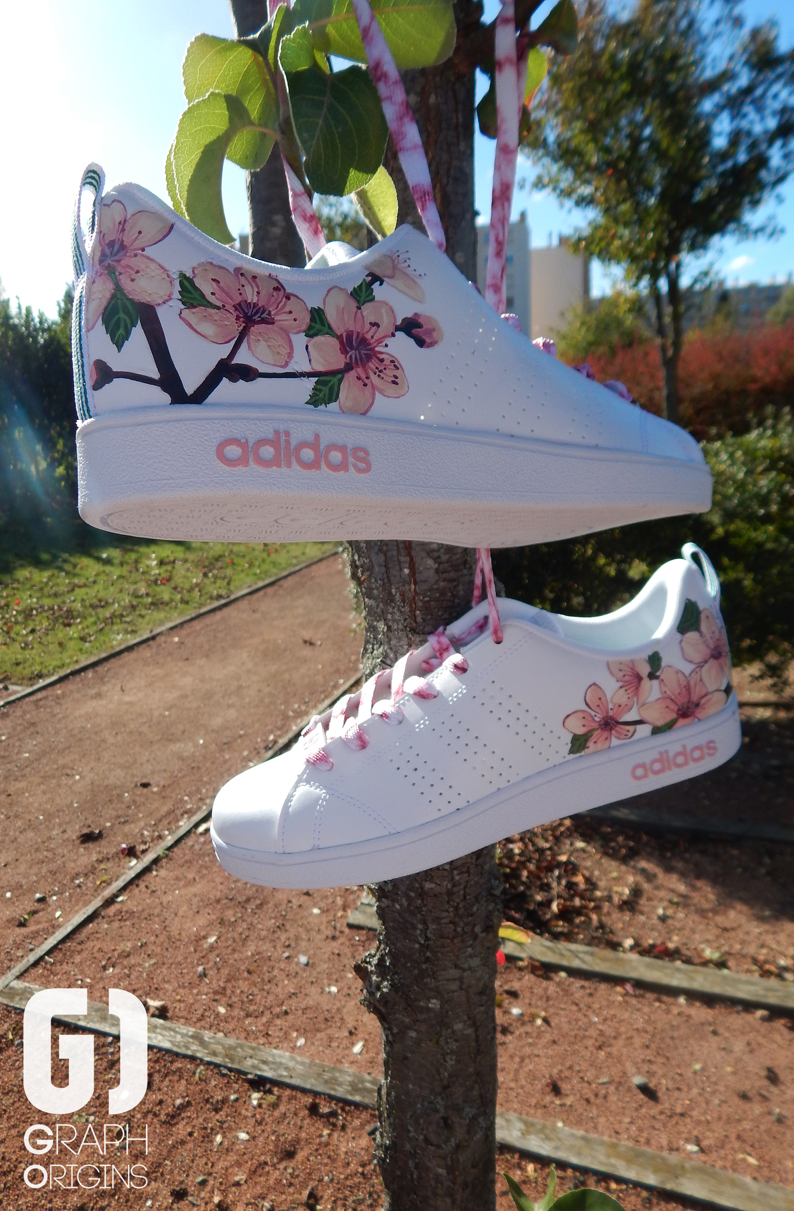 Custom baskets adidas neo cherry flower graph origins 5