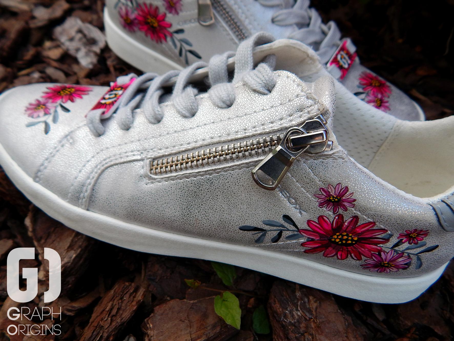 Customisation Chaussures Geox fleurs 4
