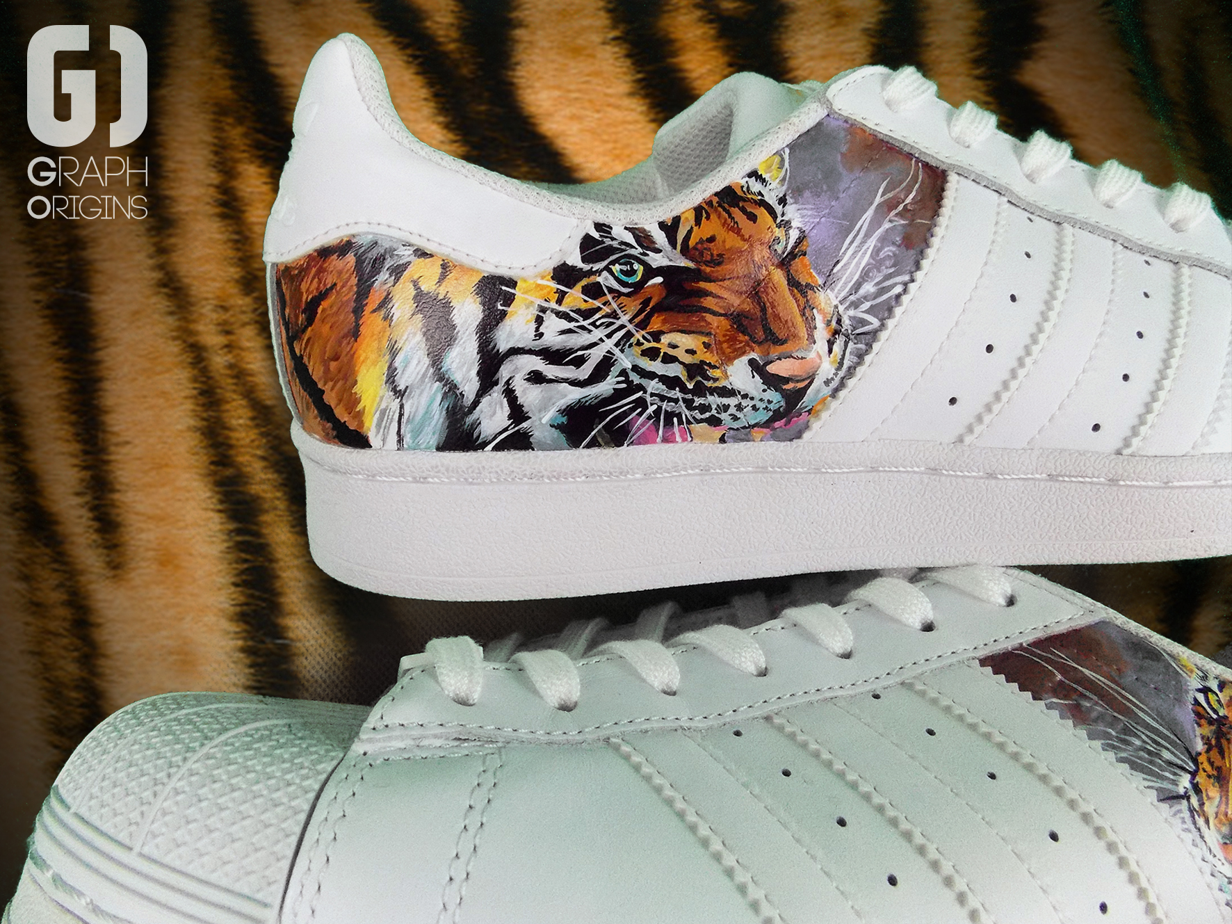 Custom Tiger Adidas Superstar 3