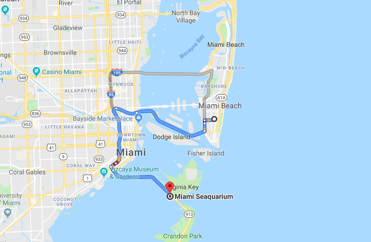 Mapa até Miami Seaquarium