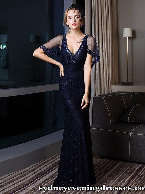 Camila V Neck Beaded Dress in Blue