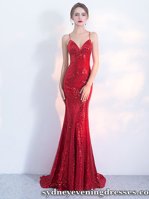 Tempt Me Sequin Formal Dress in Red
