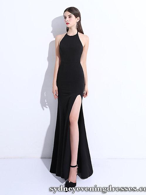 Gracie Halter Side Split Formal Dress in Black