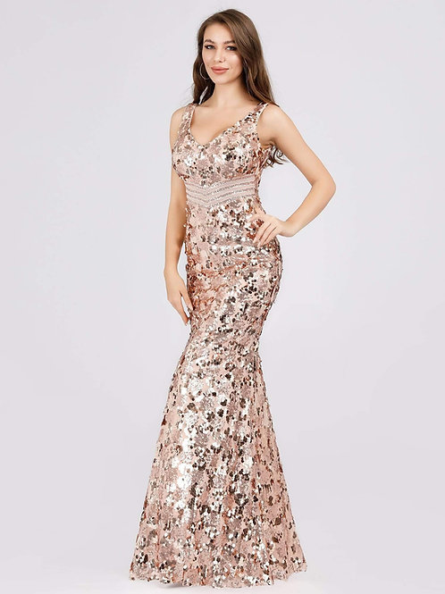 Heart of Gold Sequin V Neck Mermaid Formal Dress in Gold