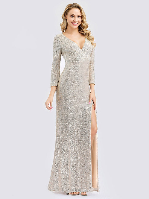 Time for Shimmer Long Sleeve Dress in Rose Gold