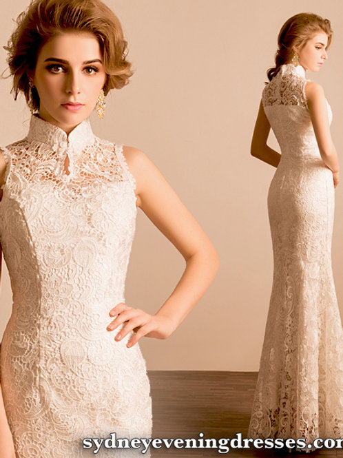 Jasmine Oriental Lace Mermaid Dress in White