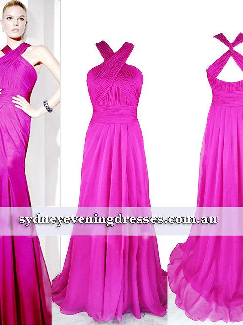Jessie Halter Maxi Dress in Hot Pink