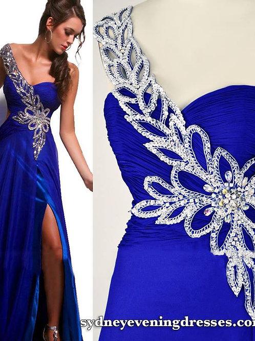 Vanessa One Shoulder Floral Beaded Side Split Maxi Dress in Blue