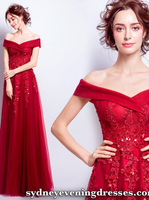 Elegance Off Shoulder Lace Maxi Dress in Red