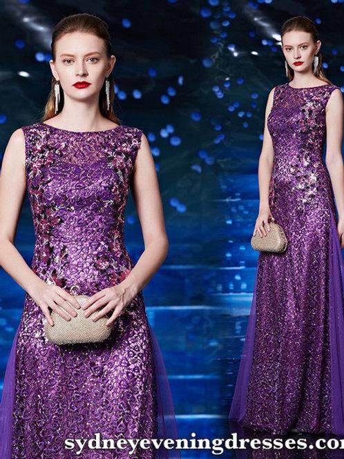 Leah Lace Dress in Purple