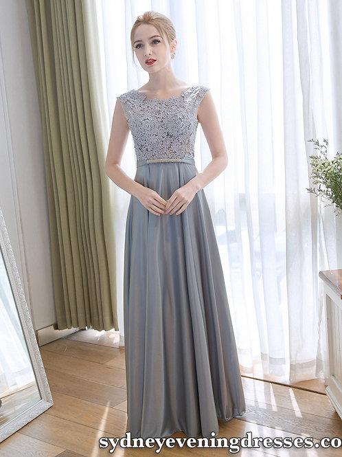 Monica Chiffon Lace Dress in Grey