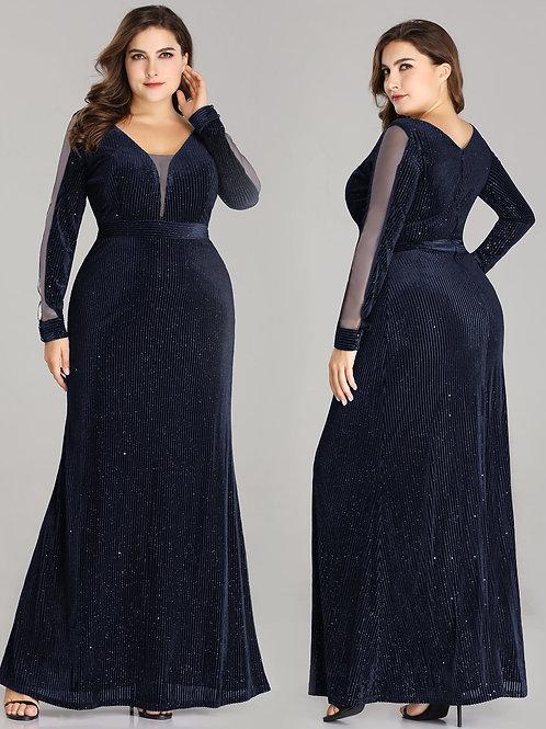 Night Shimmer Long Sleeve V Neck Dress