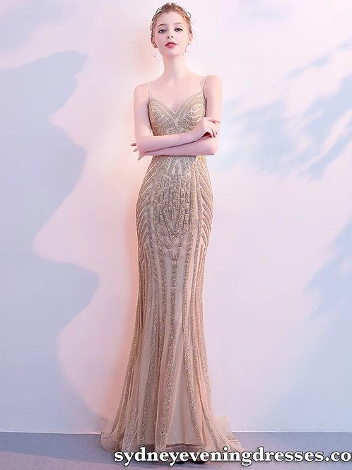Starlight Sweetheart Beaded Diamante Mermaid Dress in Champagne