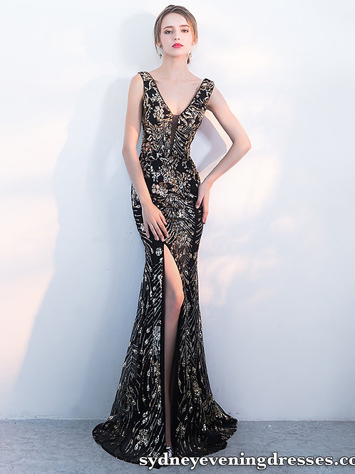 Valerie Gold Sequin V Neck Side Split Dress in Black