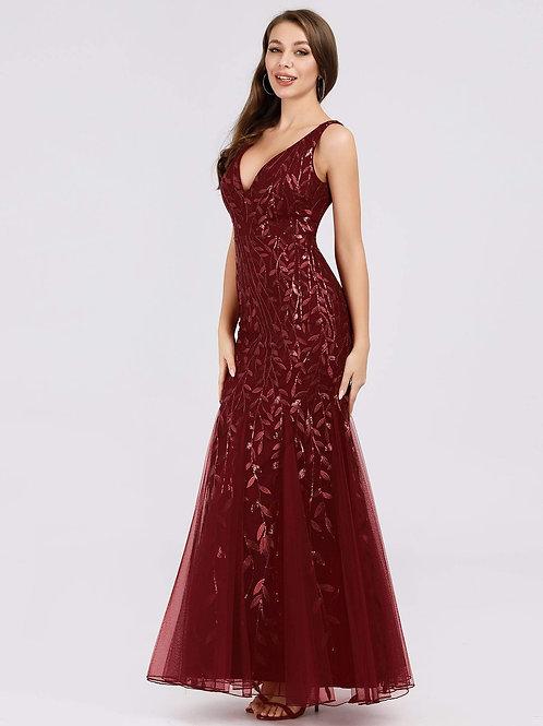 Until Forever Sleeveless Floral Sequin Mermaid Dress