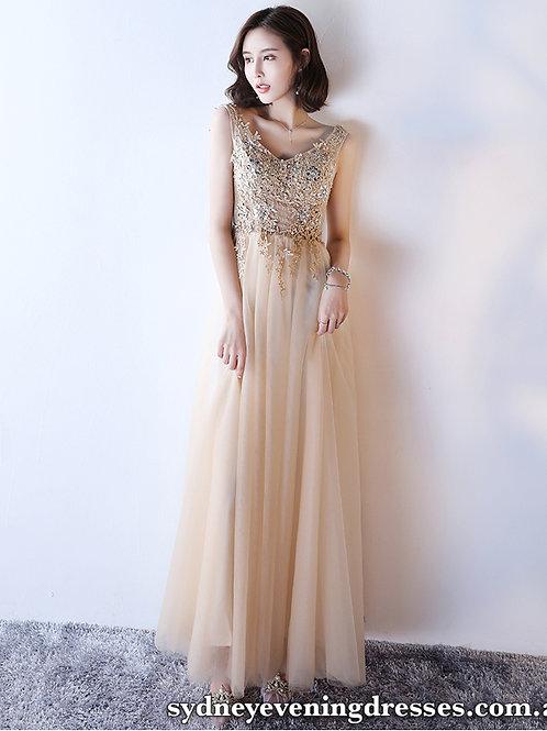 Mia V Neck Beaded Dress in Champagne