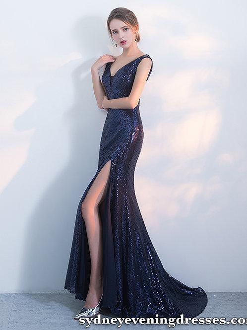 Nina Sequin V Neck Side Split Mermaid Dress