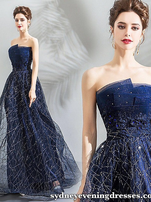 After Sunset Beaded Formal Dress in Blue