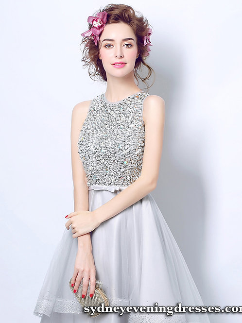Sabrina Sparkle High Low Dress in Silver Grey