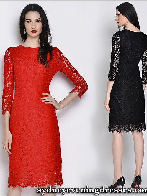 Elly Lace Long Sleeve Cocktail Midi Dress in Black or Red