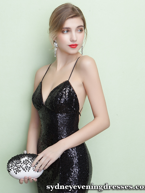 Tempt Me Sequin Formal Dress in Black