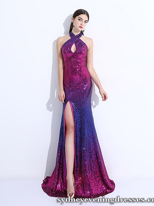Juliana Sequin Halter Side Split Dress in Purple