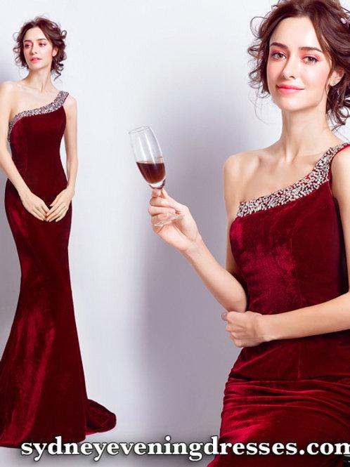 Fancy One Shoulder Dress in Rose Red