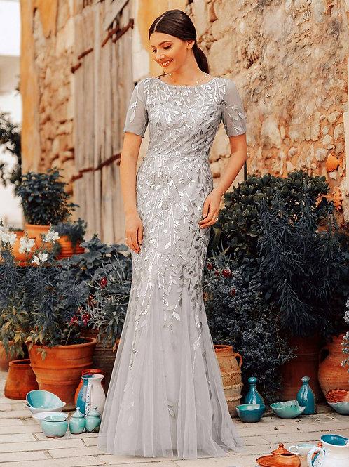 Until Forever Short Sleeve Floral Sequin Mermaid Dress