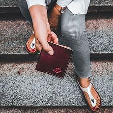 Slim Wallet, Echtleder, Handarbeit