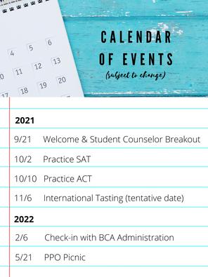 Preliminary Calendar of Events