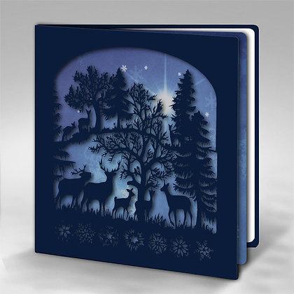 K) Wald mit Schneeflocken