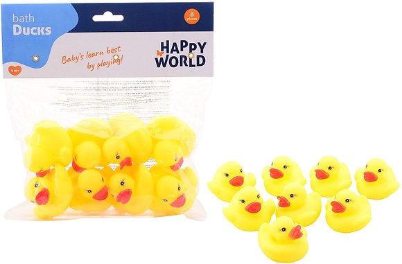 Happy World Rubber Ducks 8 Stück in einer Tasche