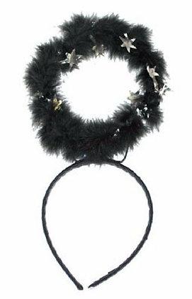 K..1/K..6) Heiligenschein schwarz mit silbernen Sternen auf einem Haarreif